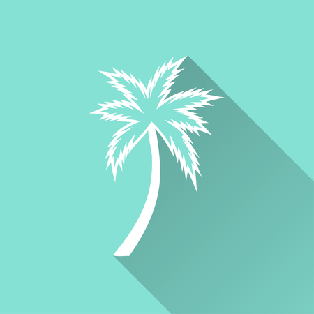 graphic icon: Palm tree   vector icon with long shadow. White illustration isolated on green background for graphic and web design. Illustration