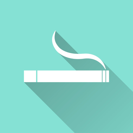 artistic addiction: Smoke   vector icon with long shadow. White illustration isolated on green background for graphic and web design.