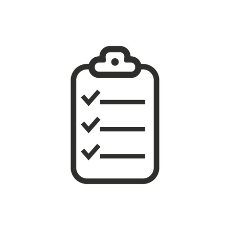 Clipboard   vector icon. Black  illustration isolated on white  background for graphic and web design.