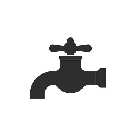 ooze: Faucet   vector icon. Black  illustration isolated on white  background for graphic and web design.