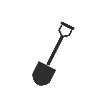 raking: Shovel   vector icon. Black  illustration isolated on white  background for graphic and web design.