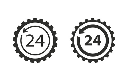 around the clock: 24 hour service   vector icon. Black  illustration isolated on white  background for graphic and web design. Illustration