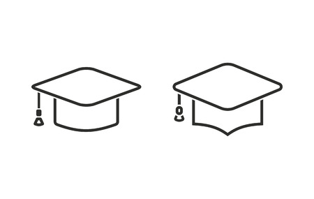 web cap: Graduation cap  icon    vector icon. Black  illustration isolated on white  background for graphic and web design.
