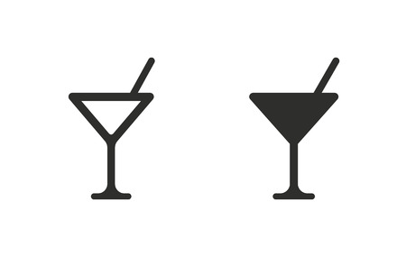 Cocktail   vector icon. Black  illustration isolated on white  background for graphic and web design.