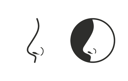 sniff: Nose    vector icon. Black  illustration isolated on white  background for graphic and web design.