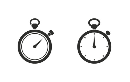 Stopwatch vector icon. Black illustration isolated on white background for graphic and web design.