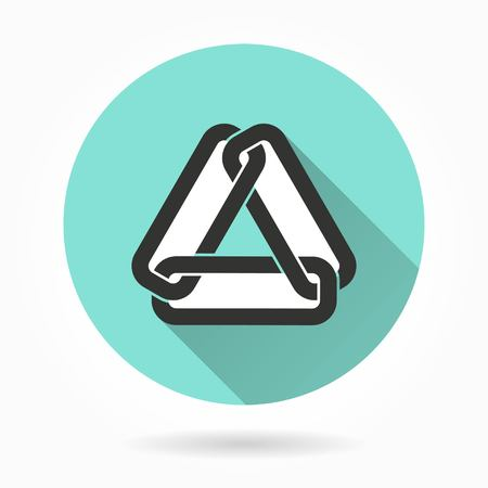 pressure linked: Link    vector icon with long shadow. White illustration isolated on green background for graphic and web design. Illustration