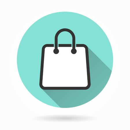 shopping bag vector: Shopping bag   vector icon with long shadow. White illustration isolated on green background for graphic and web design. Illustration
