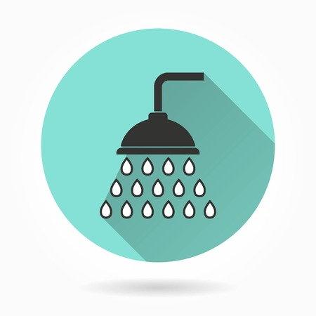 rinse: Shower   vector icon with long shadow. White illustration isolated on green background for graphic and web design.
