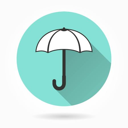 fall protection: Umbrella   vector icon with long shadow. White illustration isolated on green background for graphic and web design.