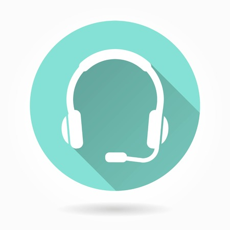 hear business call: Headphone   vector icon with long shadow. White illustration isolated on green background for graphic and web design.