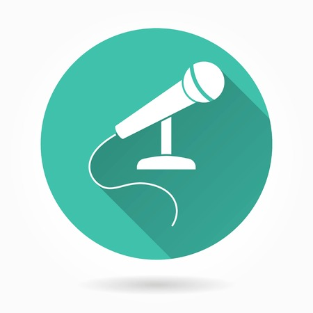 amplify: Microphone   vector icon with long shadow. White illustration isolated on green background for graphic and web design.