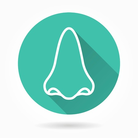 nostril: Nose    vector icon with long shadow. White illustration isolated on green background for graphic and web design.