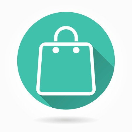 bag icon: Shopping bag   vector icon with long shadow. White illustration isolated on green background for graphic and web design. Illustration