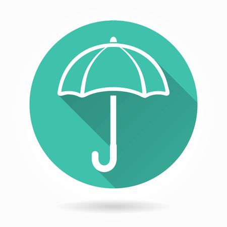 brolly: Umbrella   vector icon with long shadow. White illustration isolated on green background for graphic and web design.