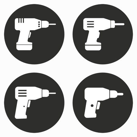 cordless: Drill    vector icon. Illustration isolated for graphic and web design.