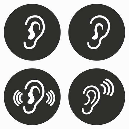 audible: Ear     vector icon. Illustration isolated for graphic and web design. Illustration