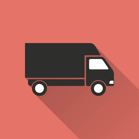removal van: Truck    vector icon. Illustration isolated for graphic and web design.