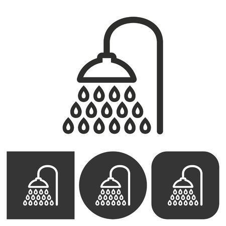 rinse: Shower   -  black and white icons. Vector illustration.