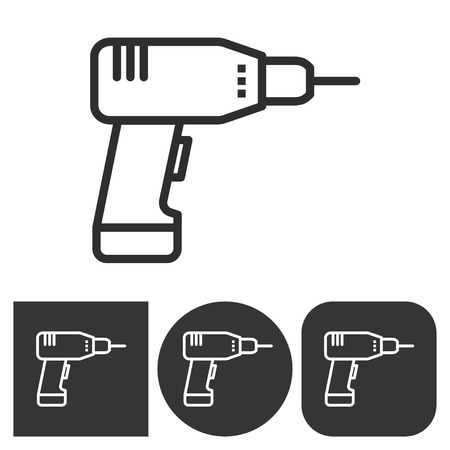 drill: Drill   -  black and white icons. Vector illustration. Illustration