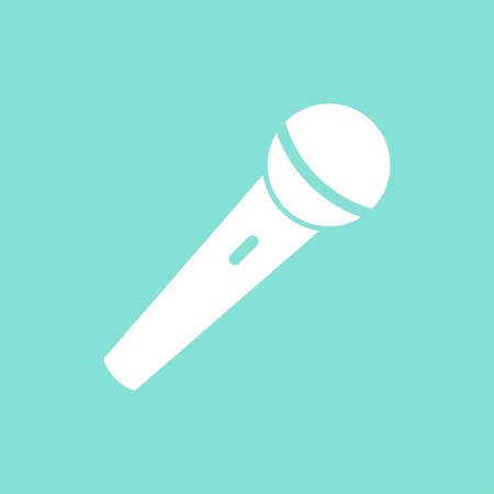 amplification: Microphone    vector icon. White  Illustration isolated on green  background for graphic and web design. Illustration