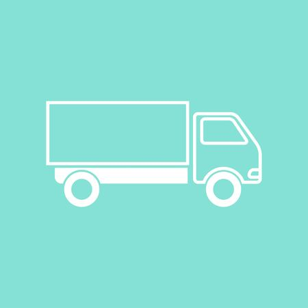 removal van: Truck    vector icon. White  Illustration isolated on green  background for graphic and web design.