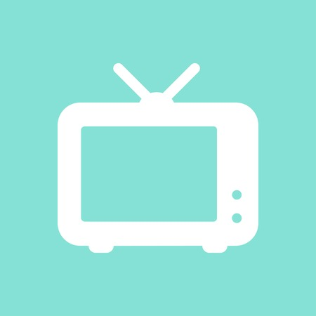 hdtv: TV    vector icon. White  Illustration isolated on green  background for graphic and web design. Illustration