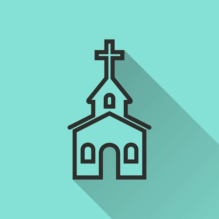 born again: Church vector icon with long shadow. Black illustration isolated on green background for graphic and web design.