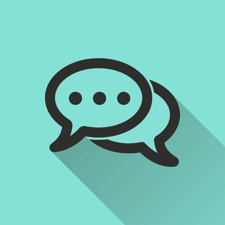 instant message: Chatting vector icon with long shadow. Black illustration isolated on green background for graphic and web design.