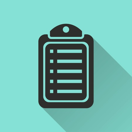 filling folder: Checklist vector icon with long shadow. Black illustration isolated on green background for graphic and web design.