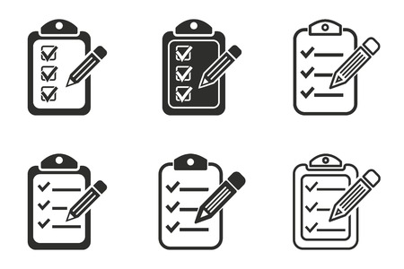 roster: Clipboard pencil vector icons set. Black illustration isolated on white background for graphic and web design.