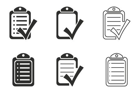 filling folder: Checklist vector icons set. Black illustration isolated on white background for graphic and web design.