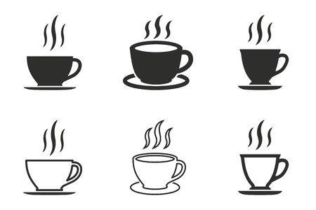 Coffee cup vector icons set. Black illustration isolated on white background for graphic and web design. Vetores