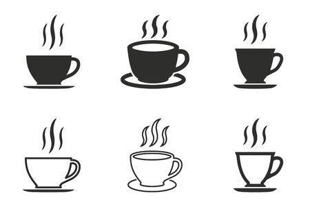Ensemble d'icônes vectorielles de tasse à café. Illustration noire isolée sur fond blanc pour la conception graphique et web. Vecteurs