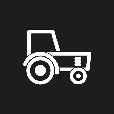 agronomy: Tractor vector icon. White illustration isolated on black background for graphic and web design.