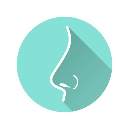 Nose vector icon with long shadow. White illustration isolated on green background for graphic and web design. Vettoriali
