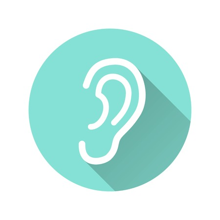 listener: Ear vector icon with long shadow. White illustration isolated on green background for graphic and web design. Illustration