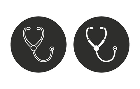 heart symbol: Stethoscope vector icon. Illustration isolated for graphic and web design.