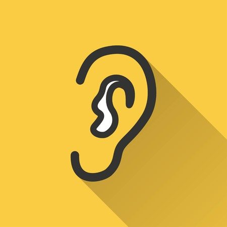 listener: Ear vector icon with long shadow. Illustration isolated on yellow background for graphic and web design.