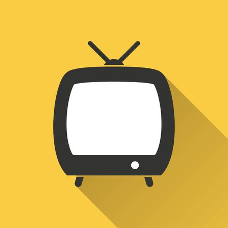 flatscreen: TV vector icon with long shadow. Illustration isolated on yellow background for graphic and web design. Illustration