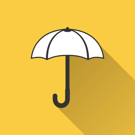 brolly: Umbrella vector icon with long shadow. Illustration isolated on yellow background for graphic and web design.