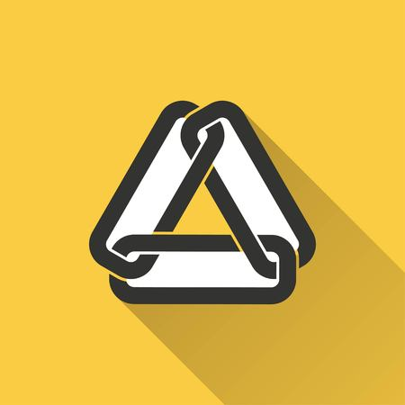 pressure linked: Link vector icon with long shadow. Illustration isolated on yellow background for graphic and web design.