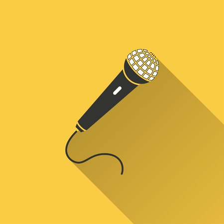 amplify: Microphone vector icon with long shadow. Illustration isolated on yellow background for graphic and web design. Illustration