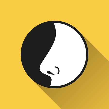 nostril: Nose vector icon with long shadow. Illustration isolated on yellow background for graphic and web design. Illustration