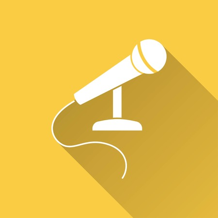 amplify: Microphone vector icon with long shadow. White illustration isolated on yellow background for graphic and web design.