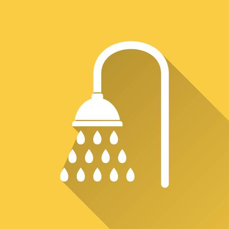 douche: Shower vector icon with long shadow. White illustration isolated on yellow background for graphic and web design.