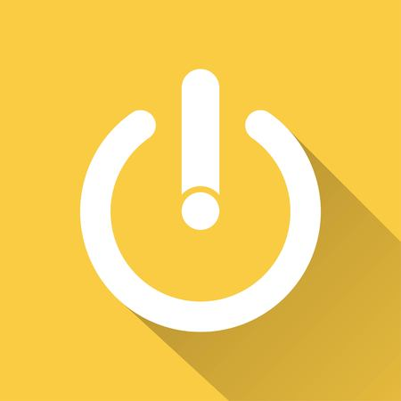 off the record: Start vector icon with long shadow. White illustration isolated on yellow background for graphic and web design.
