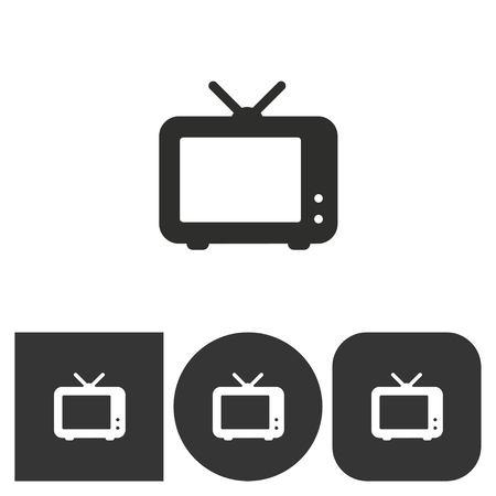 flatscreen: TV - black and white icons. Vector illustration.