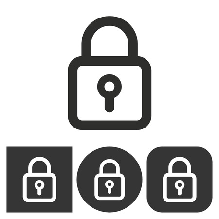 black and white lock: Lock - black and white icons. Vector illustration.