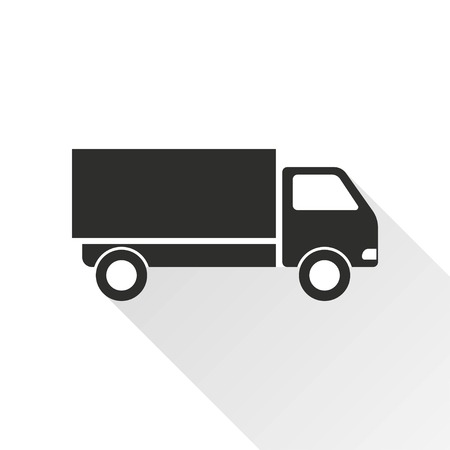 removal van: Truck vector icon with long shadow. Black illustration isolated on with background for graphic and web design. Illustration